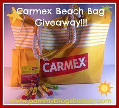 Beach Bag and Lip Balm Giveaway! Visit www.pammyblogsbeauty.com to enter!