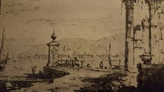 ANCIENT RUINS AT A RIVER AND MOUNTAINS IN THE BACKGROUND. pen with black ink washed in grey-blue on pencil lines. 203 × 287 mm. London. Windsor Castle Library . Inv. no. 7534.
