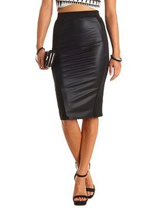 fe1a9585f2 Faux Leather Paneled Bodycon Midi Skirt: Charlotte Russe Bodycon Midi Skirt,  Office Fashion,