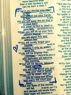 Job 11:13-15 Action steps: - devote your heart to Him - stretch out your hands to Him - put away sin that's in your hand - don't allow evil to dwell in your tent - lift up your face without shame - stand firm without fear ... Job 11:16-19 Promises: - you will forget your trouble - life will be brighter - darkness will disappear - you will be secure - you will have hope - you will rest in safety - you will lie down without fear - many will court your favor