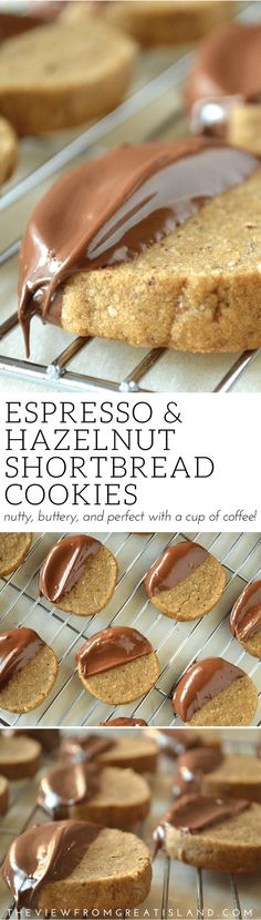 Espresso Hazelnut Shortbread Cookies ~ this buttery shortbread cookie recipe is made with strong espresso and ground hazelnuts for a refined flavor. Pair them with after dinner coffee for a special treat. #shortbread #cookies #espresso #hazelnut #hazelnutcookies #dessert #chocolate Buttery Shortbread Cookies, Shortbread Recipes, Baking Recipes, Cookie Recipes, Dessert Recipes, Delicious Desserts, Chip Cookies, Cookies Et Biscuits, Scones