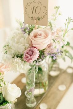 vintage pink roses and mason jar wedding centerpiece | Deer Pearl Flowers