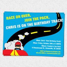 Printable Race Car Birthday Party Invitation, Racecar, Driver, Track, Boy, DIY digital file  www.OhCreativeOne.etsy.com