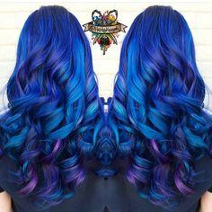 Beautiful blue and purple hair on long curly hair by vivid hair blue… Best Hair Dye, Dye My Hair, Cute Hair Colors, Cool Hair Color, Hair Colour, Bjd, Locks, Arctic Fox Hair Color, Purple Hair
