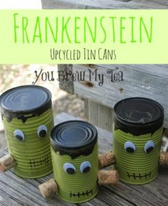 DIY Upcycled Frankenstein Tin Cans! Check out this fun upcycling Halloween decoration! Frankenstein Upcycled Tin Cans are cute, easy and fun to make! Halloween Wall Decor, Diy Halloween Decorations, Halloween Party Decor, Holidays Halloween, Halloween Crafts, Halloween Ideas, Fall Decorations, Happy Halloween, Frankenstein Party