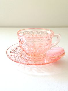 Antique Anchor Hocking Depression Pink Glass Tea Cup and Saucer Tea Party