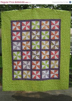 Hand Made Quilt Twin Popping Pinwheels by bungalowquilts on Etsy, $225.00