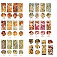 Folie du Jour Bottle Cap Images: Mucha - Art Nouveau - Bottle Cap/Dominoes images