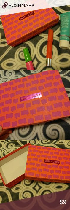 Birchbox Cosmetic Box This box is so cute!!  Features a bright orange and hot pink design that looks like social media comment bubbles.   The pattern is on the lid and the bottom, essentially everywhere but the inside. The inside is pure white.   No stains, scratches, or bent corners here!  I have another Birchbox for sale in my closet. Buy both and save!  *****CHEAPER on my Mercari @DearErica ***** Birchbox Accessories