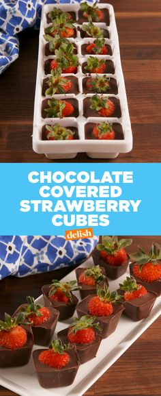Covered Strawberry Cubes This ice cube tray hack is the easiest way to make chocolate covered strawberries.This ice cube tray hack is the easiest way to make chocolate covered strawberries. Comida Picnic, Cube Recipe, Kolaci I Torte, Chocolate Strawberries, Chocolate Covered Fruit, Strawberry Recipes, Strawberry Summer, Clean Eating Snacks, Delish