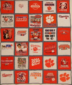 Go Tigers!  30 Square Full Quilt with Grey Backing and Sashing    I love the pattern created with the Clemson orange and white!