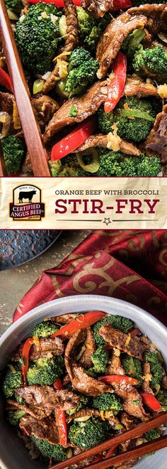 Certified Angus Beef®️️️️️ brand Orange Beef with Broccoli Stir-fry is a MUST TRY recipe! The best bottom round steak is cooked with bell peppers, green onions, garlic and ginger for strong flavors, and is finished with a DELICIOUS orange sauce.  #bestangusbeef #certifiedangusbeef #beefrecipe #easyrecipes #stirfry