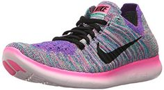 check out b0a7a 72eb8 Nike Womens Free Running Motion Flyknit Shoes Pink Blast Black Racer Blue Clear  Jade 8 BM US   Details can be found by clicking on the image.