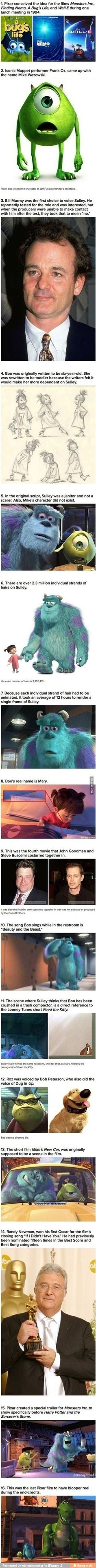Some unknown facts about monsters inc.