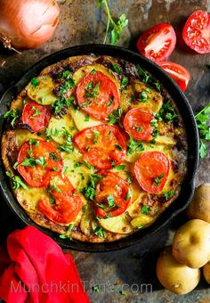 Classic 5-Ingredient Spanish Omelette. Made of 5 simple ingredients like golden potatoes, cage-free eggs, ripe tomatoes, onion, fresh parsley, and of... #spanishrecipes #breakfastrecipe