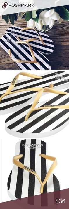 Samba Sol Women's Striped Luxury Flip Flops💫 Samba Sol Women's black and white stripes Flip Flops ENVIRONMENTALLY FRIENDLY! Made with 100% recycled, biodegradable Brazilian rubber. Your purchase actually helps protect the Amazonian rainforest!🌎  They are like Havaianas but they are better for the environment! They come in sizes 5/6, 7/8, 9/10, and 11/12. Samba Sol Shoes Sandals
