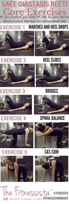 Tips for safe workouts if you have diastasis recti, or abnormal ab separation after pregnancy. Strengthen your core with these safe diastasis recti exercises.  fitnessista.com