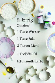 Statt lebensmittelfarbe nach dem trocknen  Wasserfarbe.Salzteig kann man gut auf Folie Lufttrocknen.