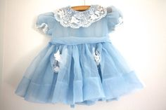 Vintage Baby Girl's Sheer Blue Party Dress by 1SweetDreamVintage, $14.00