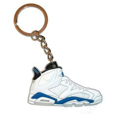 Air Jordan 6 Keyring Keychain White Sport Blue ($31) ❤ liked on Polyvore featuring accessories, keychain key ring, key chain rings, ring key chain and fob key chain