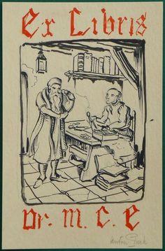 Anton Pieck; Originele voorstudie voor het persoonlijke Ex Libris van Dr. M.C. Ennema - jaren '40/'50