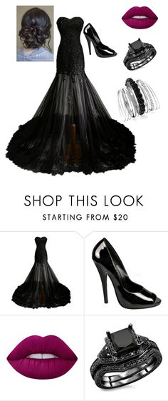 """""""BLACK WEDDING"""" by alanisdimar ❤ liked on Polyvore featuring Domina, Lime Crime and Avenue"""