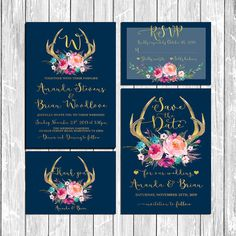 Wedding Suite Wedding Invitations Deer by HappyLifePrintables