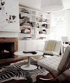 Modern Living Space. Suzie: James Tse Photography - I love the picture over the fireplace!