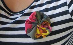 Fabric Flower Brooch by OwlsNestCrochet on Etsy, $7.50