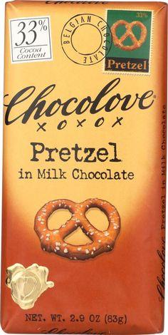 Chocolove Xoxox Premium Chocolate Bar - Milk Chocolate - Pretzel - 2.9 Oz Bars - Case Of 12