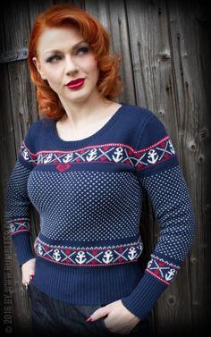 Rumble 59 Ladies Norwegian Sweater Anchor Heartbeats