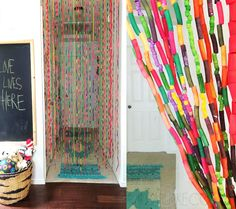 noodle bead curtain - It's a 1970's + 2010's mashup! Alisa Burke made this with her daughter and shares how to make them