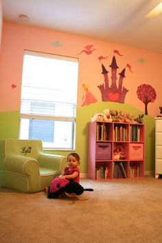 Adorable princess room. Wall art by My Wonderful Walls www.mywonderfulwalls.com