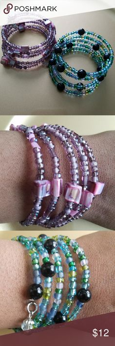 Beaded Wrapped  Bracelets Set of handcrafted wrapped  bracelets. Jewelry Bracelets