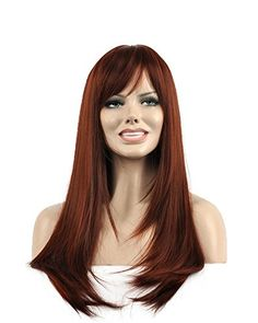 Diy-Wig New Popular Red Brown Long Straight Cosplay Synth…