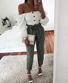 White Off Shoulder Single Breasted Lantern Long Sleeve Sweet Casual Shirt Blouse Source by rachemalik dressy outfit Teen Fashion Outfits, Mode Outfits, Cute Casual Outfits, Outfits For Teens, Stylish Outfits, Casual Shirt, Formal Outfit For Teens, Church Outfit For Teens, Dressy Summer Outfits