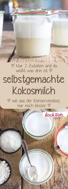 Selbstgemachte Kokosmilch wie aus der Konservendose! Super Sache! #kokosmilch #DIY #selbermachen #allergenarm #vegan