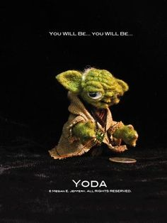 """Yoda, one of my finger puppet contributions for the group show, """"Stitch Wars Strikes Back""""."""