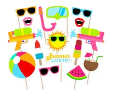 Printable Summer Photo Booth Props Pool by PrintablePropShop