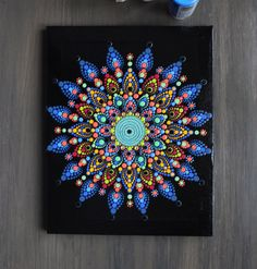 This is an original hand painted dot mandala on wrapped canvas. Decorated with Rhinestones Black base coat Clear top coat to protect the artwork Colorful Thanks for stopping by! Mandala Art, Mandalas Painting, Mandala Canvas, Mandalas Drawing, Mandala Rocks, Mandala Pattern, Mandala Design, Dot Art Painting, Stone Painting