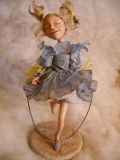 "Кукла ""Попрыгунья"" - кукла,кукла девочка,голубой,полимерная глина паперклей (paperclay) Eugenia Valkova"