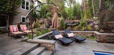 Outdoor Umbrellas to Complete Your Backyard Modern Patio Design, Contemporary Patio, Balcony Design, Build Outdoor Kitchen, Backyard Kitchen, Landscaping A Slope, Landscaping With Rocks, Landscape Bricks, Landscape Design