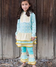 Look at this #zulilyfind! Blue & Yellow Hooded Dress & Leggings - Infant, Toddler & Girls #zulilyfinds
