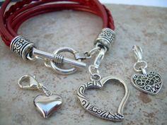 Bracelets For Men, Beaded Bracelets, Leather Bracelets, Charm Bracelets, Leather Jewelry, Heart Bracelet, Heart Charm, Jewelry Design, Jewelry Ideas
