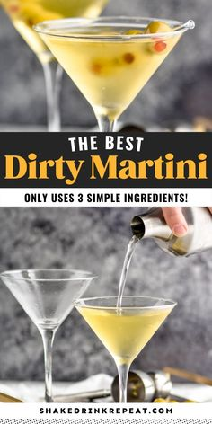 In this dirty martini, vodka and olive juice pair together perfectly for a straightforward flavor that makes this iconic drink irresistible. Dirty Martini Recipe Vodka, Vodka Martini, Martini Recipes, Shake Recipes, Drink Recipes, Cocktail Drinks, Cocktails, Yummy Treats, Cocktail