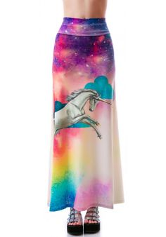 Too Fast Rainbow Unicorn Hella Maxi Skirt