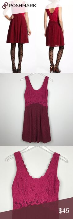 "[Anthropologie] Carmindy Dress 2 Lace Burgundy Moulinette Soeurs sleeveless lace dress. Two tone burgundy and Raspberry color. Lined. Side Zip.   🔹Pit to Pit: 16"" 🔹Waist: 14"" flat across  🔹Length: 37"" 🔹Condition: Excellent pre-owned condition.   *G7 Anthropologie Dresses"