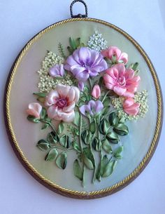 Wonderful Ribbon Embroidery Flowers by Hand Ideas. Enchanting Ribbon Embroidery Flowers by Hand Ideas. Ribbon Embroidery Tutorial, Silk Ribbon Embroidery, Embroidery Patterns, Hand Embroidery, Embroidery Supplies, Ribbon Art, Diy Ribbon, Ribbon Crafts, Ribbon Flower