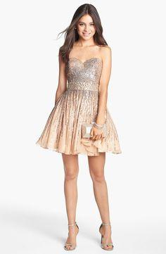 Sherri Hill Embellished Silk Fit & Flare Dress | Nordstrom