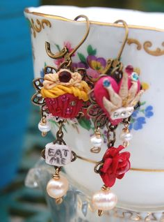 Lilygrace Alice in Wonderland Earrings with Freshwater Pearls and Vintage Rhinestones by LilygraceOriginals on Etsy https://www.etsy.com/listing/24728561/lilygrace-alice-in-wonderland-earrings
